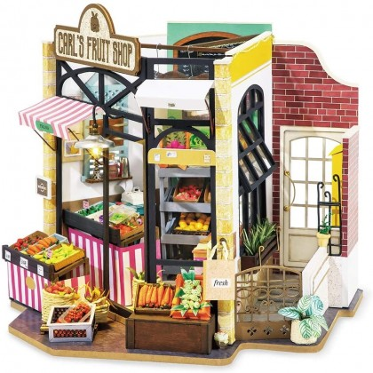 Miniature Carl's Fruit Vegetable Shop Fresh Farmers Market DIY Craft Dollhouse Kit