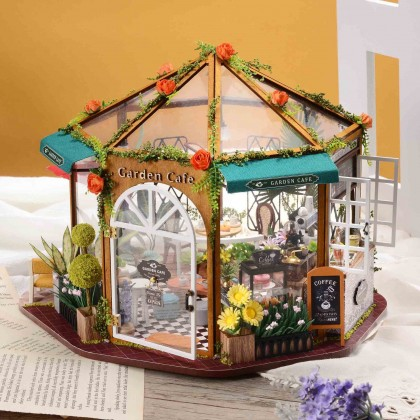 Miniature Octagon Coffee Shop Sunroom DIY Dollhouse Kit