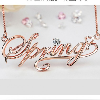Personalized 3D Letter name Jewelry Necklace
