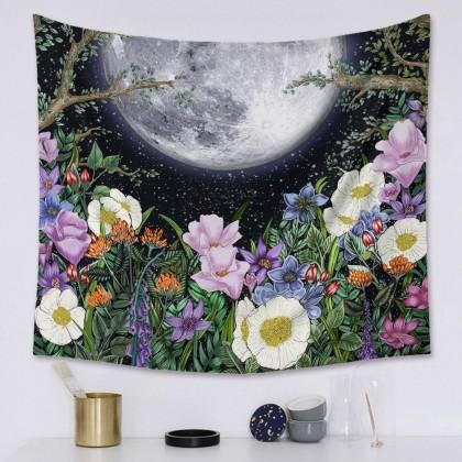 Moon Phase Night Garden Fashion Bohemian Wall Art Tapestry H