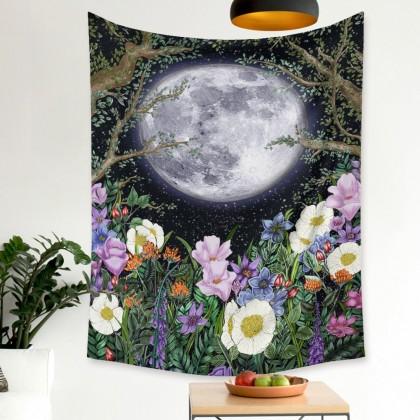 Moon Phase Night Garden Fashion Bohemian Wall Art Tapestry Vertical