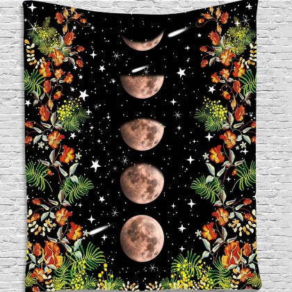 Moon Phase Night Garden  Fashion Bohemian Wall Art Tapestry