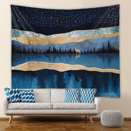 Mountain Night Deer Fashion Bohemian Wall Art Tapestry