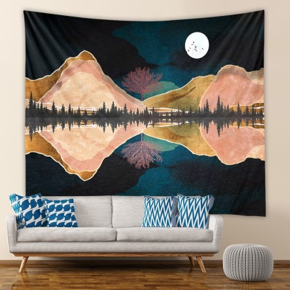 Mountain Night Moon Fashion Bohemian Wall Art Tapestry