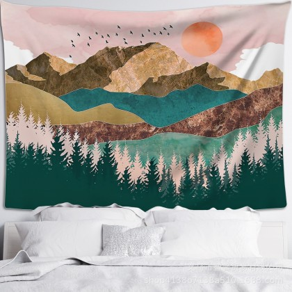 Mountain Sun Landscape Fashion Bohemian Wall Art Tapestry
