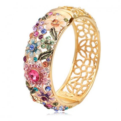 Spring Garden Enamel Bangle, Multi