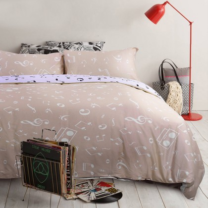 Music Note Queen Bedding Set- Beige