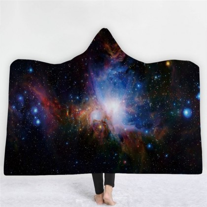 Mystic Space Nebula Throw Blanket with Hood