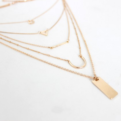 Lariat Layered Triangle Bar Geometric Necklace