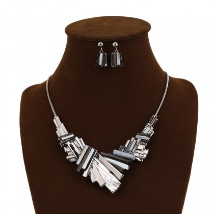 Asymmetry Geometry Grey Necklace