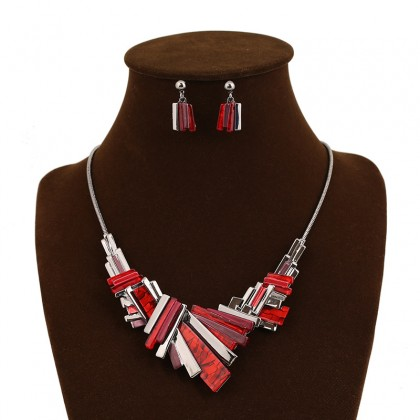 Asymmetry Geometry Red Necklace