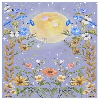 Full Moon Night Flower Secret Garden Fashion Bohemian Wall Art Tapestry