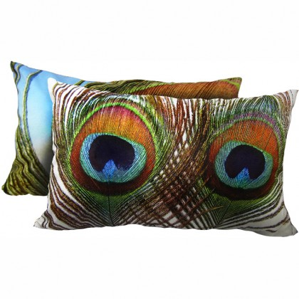 Peacock Feather Eyes Cushion Cover-E
