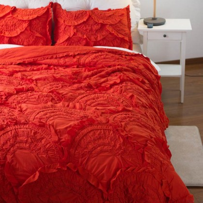 Rivulets Orange 3pcs Quilt Bedding