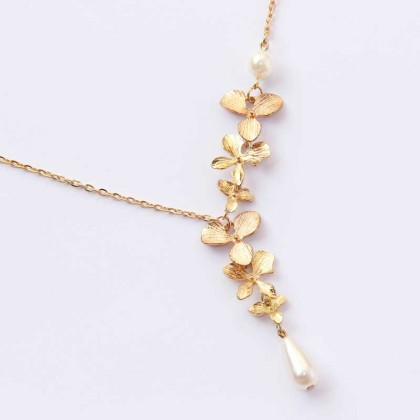 Lariat Cascading Gold Tone Orchid Necklace