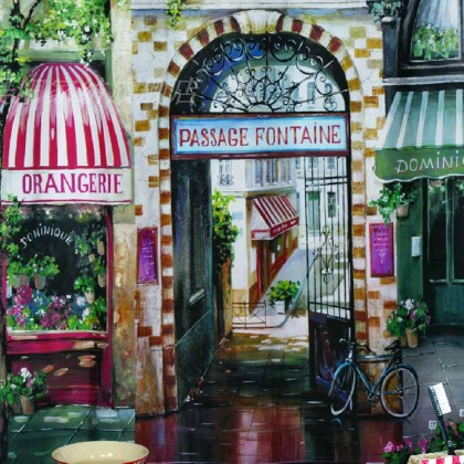 Paris Cafe Passage Fontaine Shower Curtain