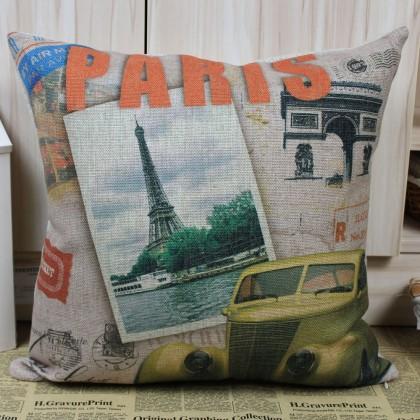 Paris Eiffel Tower Triumphal Arch Cushion Cover