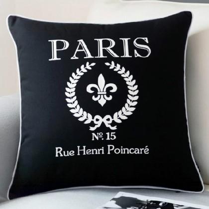 Black Paris Cushion Cover
