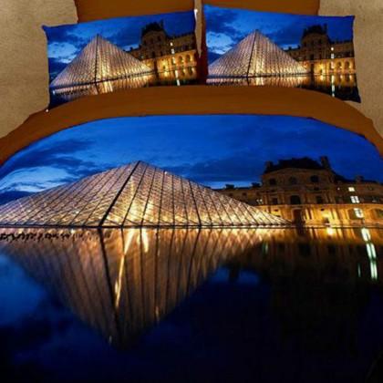 Paris Louvre Pyramid Luxury Oil Painting Queen Bedding Set
