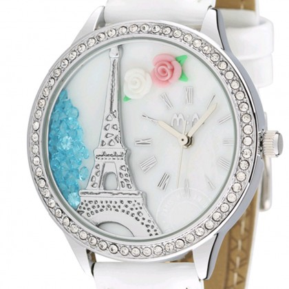Paris Eiffel Tower 3D Watch, White