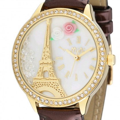 Paris Eiffel Tower 3D Watch, Brown