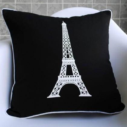 Black Paris Eiffel Tower Cushion Cover