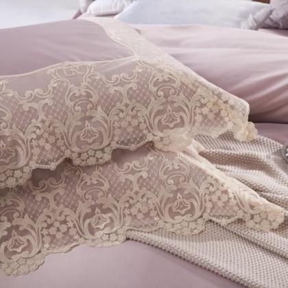 Paris Silk Simply Luxury Lace Duvet Cover Set- Purple