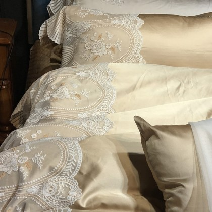 Silk Simply Luxury Lace Duvet Cover Set