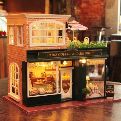 Miniature Paris Coffee Shop DIY Dollhouse Kit