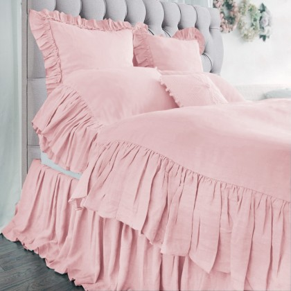 Mermaid Long Ruffle Duvet Cover Set- Peach Pink