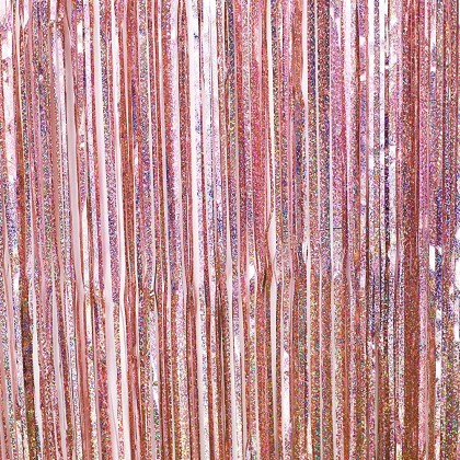 Coral Pink Holographic Iridescent Fringe Foil Curtain Party Hanging Decoration