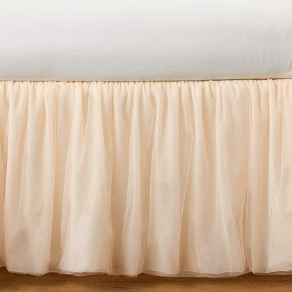 Luxury Peach Sheer Bed Skirt