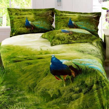 Peacock Luxury Oil Painting Queen Bedding Set