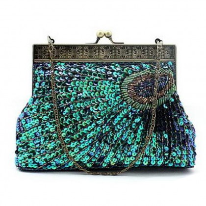 Peacock Crystals Half Moon Clutch