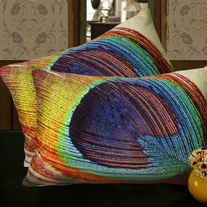 Peacock Feather Eyes Cushion Cover-Yellow