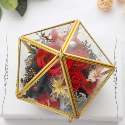 Eternal Red Rose in Pentagon Glass Box