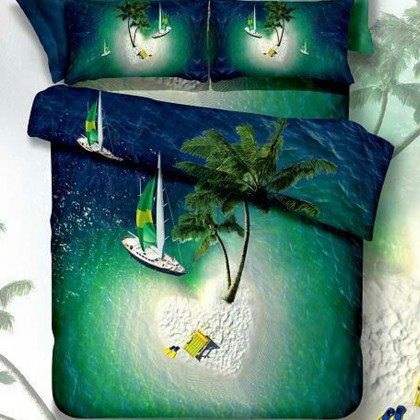 Ocean Peace Island Duvet Cover Set