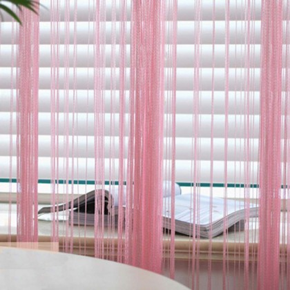 Pink String Curtain Panel