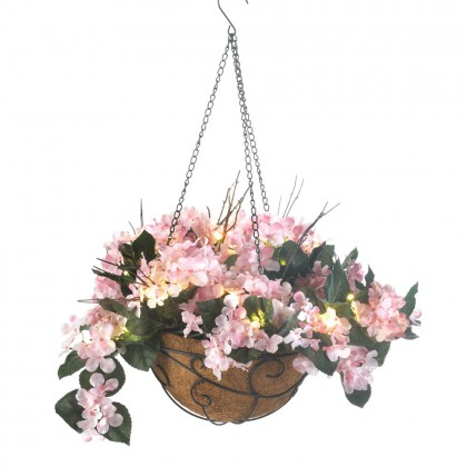 Pink Hydrangea Gift Hanging Basket Light