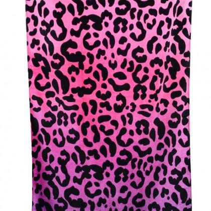 Pink Leopard Print Beach Towel