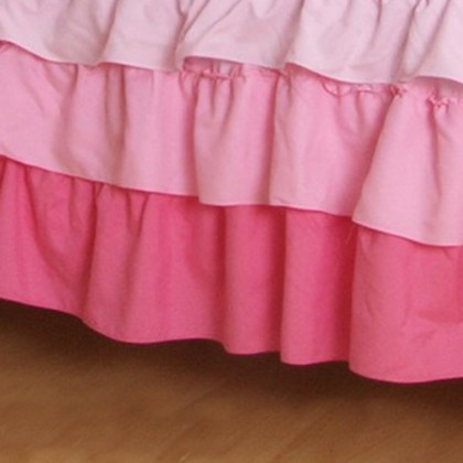 Pink Ombre Tiered Ruffle Bed Skirt