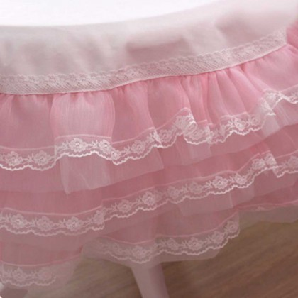 Pink Organza Ruffle Lace Tablecloth 2' x 2'