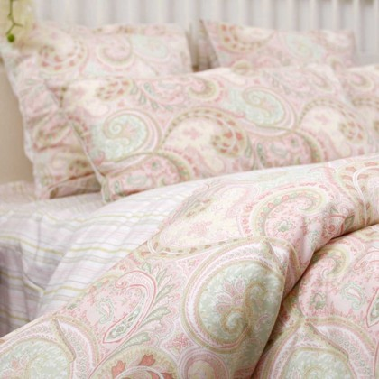 Pink Paisley Egyptian Cotton Duvet Cover Set