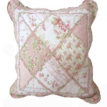 Pink Cottage Garden Quilt Cushion Cover