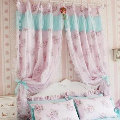 Shabby Pink Rose Curtain Set