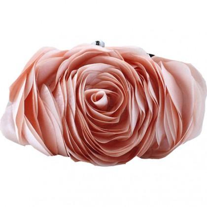 3D Rose Purse, Champagne