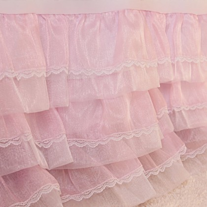 Pink Organza Ruffle Lace Bed Skirt