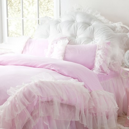 Glamorous Pink Ruffled Duvet Cover 4pcs Set Queen
