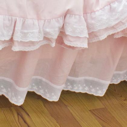 Pink Lace Ruffle Bedskirt