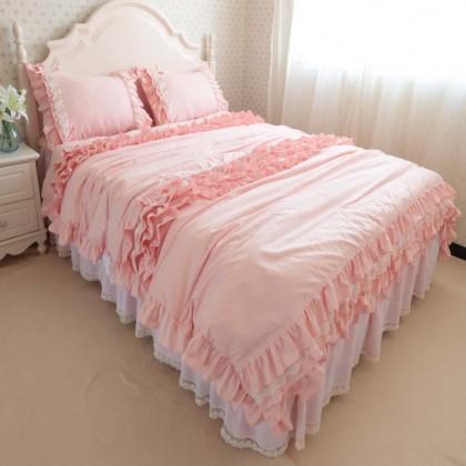 Pink Ruffled Queen Duvet Cover
